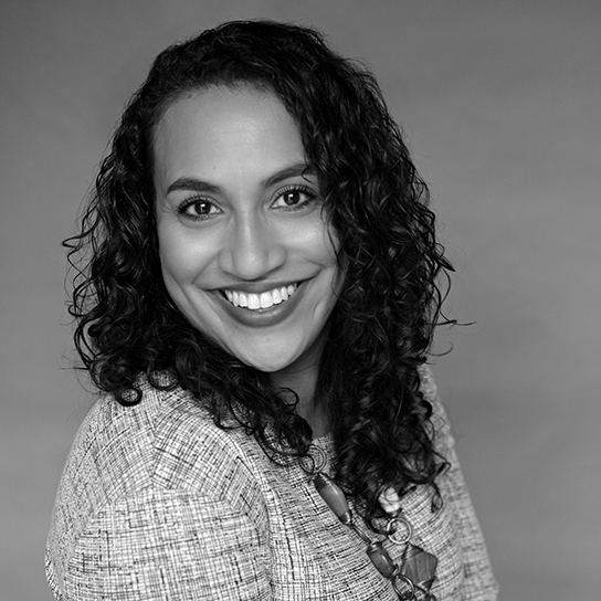 Headshot of Christina Liciaga in black and white