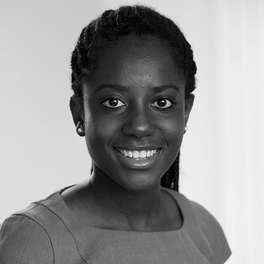 Headshot of Janet Onyia in black and white